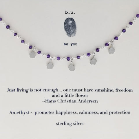 b.u. Just Living Is Not Enough Amethyst Quote Necklace