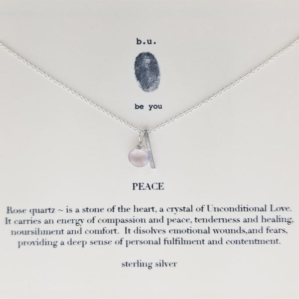 b.u. Rose Quarts Peace Necklace on Quote Card