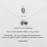 b.u. Symbol For New Beginnings Necklace On Quote Card