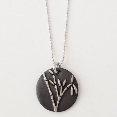 Sterling Bamboo Black Patina Necklace