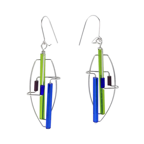 Barbie Levy Abstract Colorful Oval Earrings