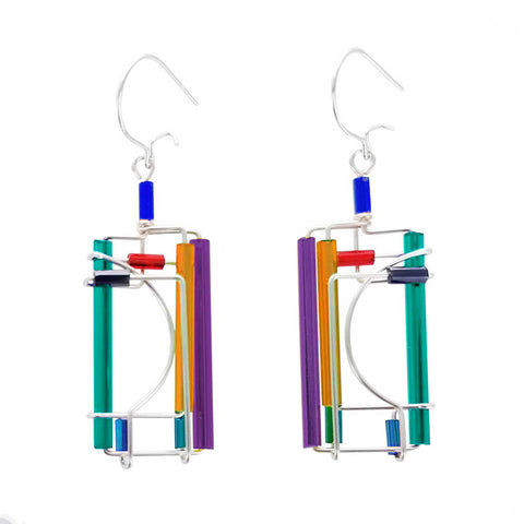 Barbie Levy Colorful Rectangle Silver Curve Earrings