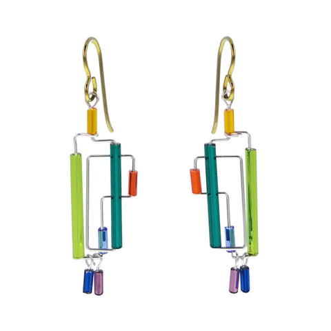 Barbie Levy Colorful Thin Rectangular Double Drop Earrings