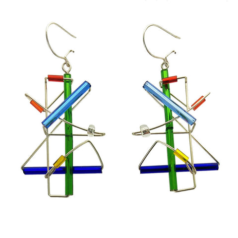 Barbie Levy Abstract Colorful Dancer Earrings