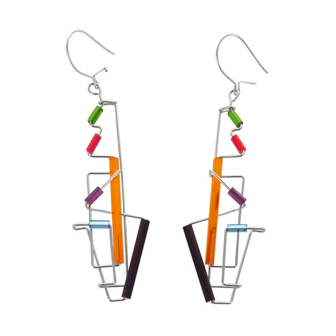 Barbie Levy Abstract Colorful Totem Earrings