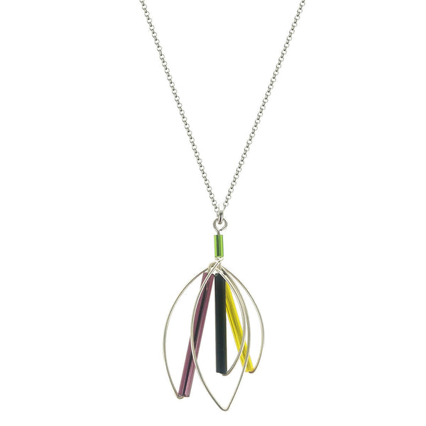 Barbie Levy Abstract Colorful Leaf Necklace