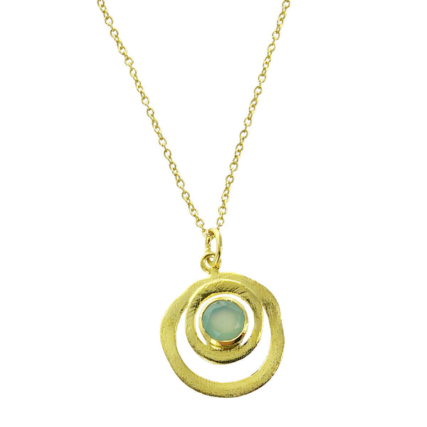 Betty Carre Chalcedony Gold Circles Pendant Necklace