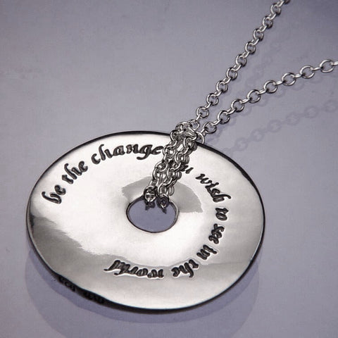 Be The Change Gandhi Quote Pendant