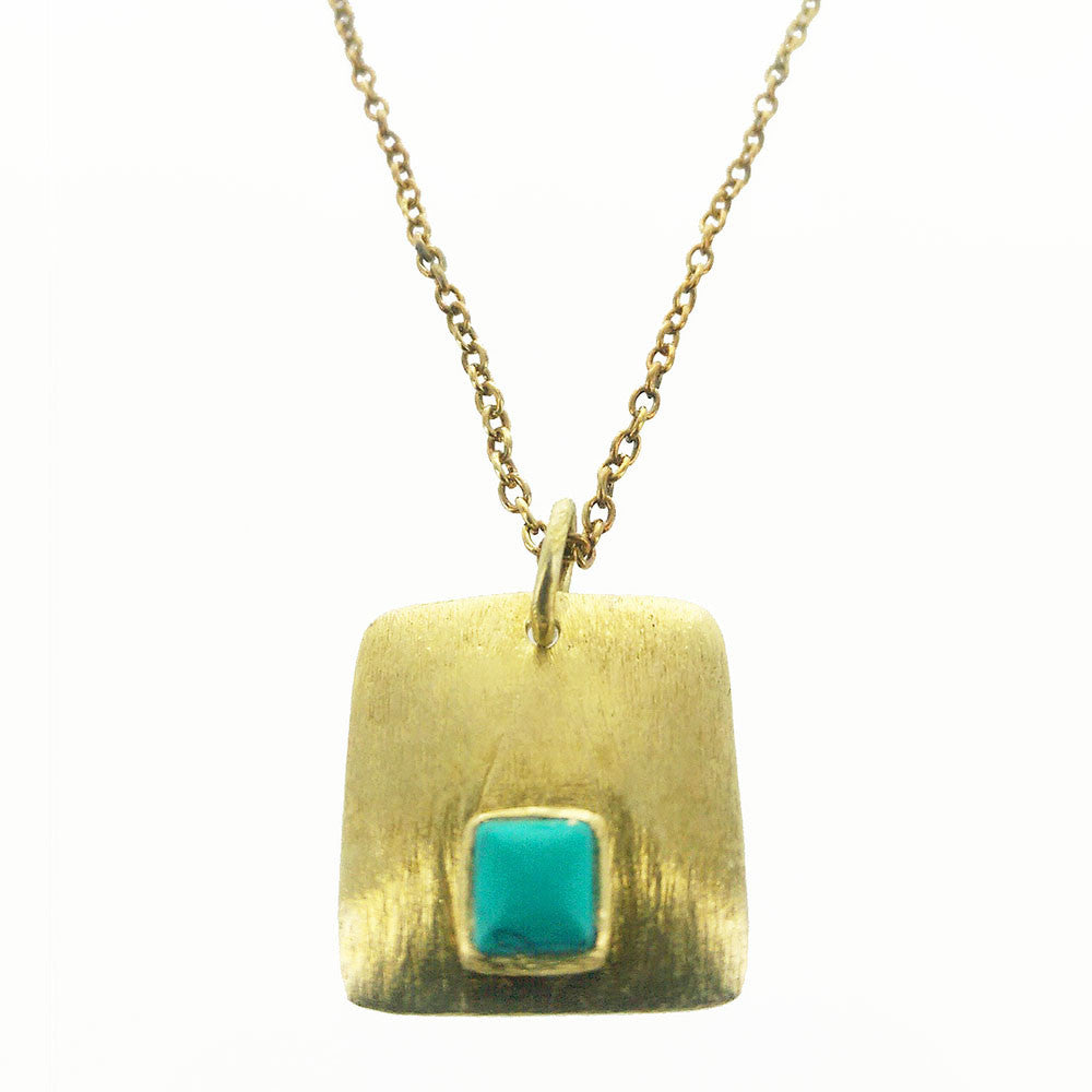 gold pendant necklace square en zazare red