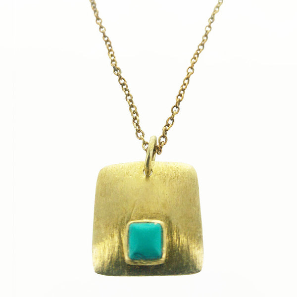 Betty Carre Brushed Gold Square Necklace