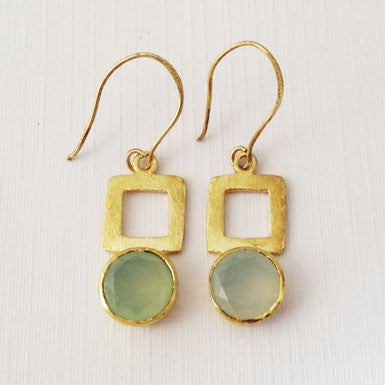 Betty Carre Chalcedony Brushed Gold Earrings