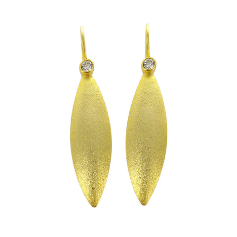 Betty Carre Gold Crystal Leaf Earrings