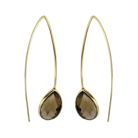 Betty Carre Faceted Smokey Quartz Teardrop Earrings