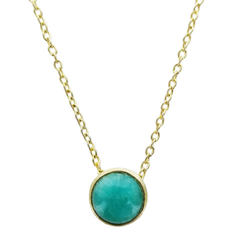 Betty Carre Round Amazonite Gold Necklace