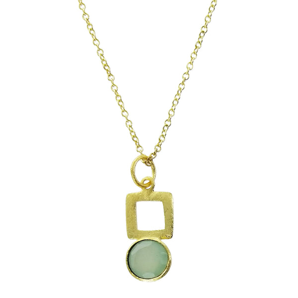 Betty Carre Round Chalcedony Square Brushed Gold Necklace