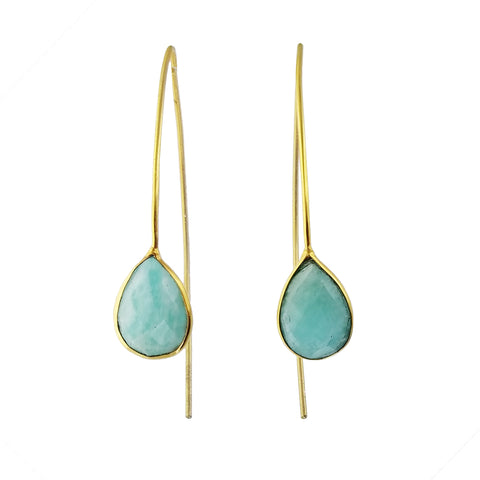 Betty Carre Faceted Amazonite Teardrop Earrings