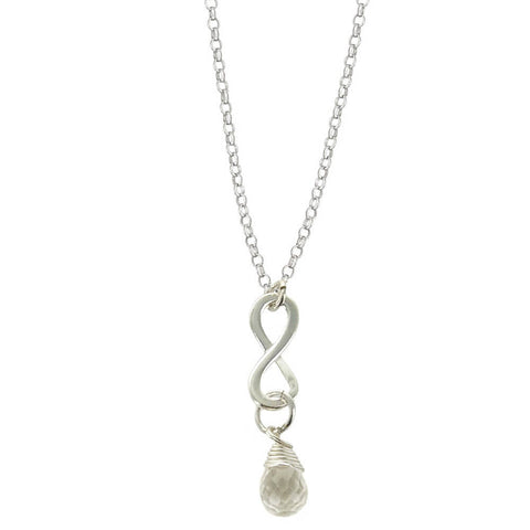Rock Crystal April Birthstone Infinity Necklace