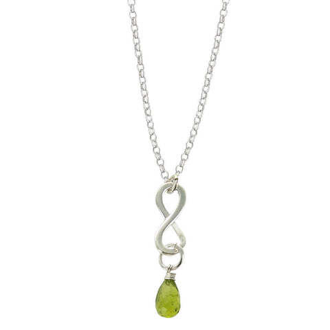 Peridot August Birthstone Infinity Necklace