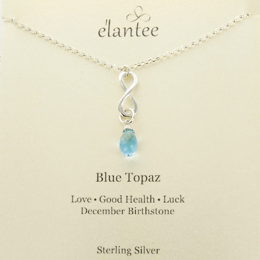 Blue Topaz December Birthstone Infinity Necklace – Sheva Jewelry