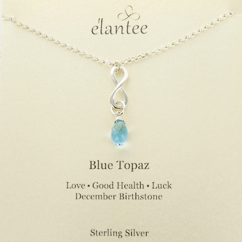 Blue Topaz December Birthstone Infinity Necklace On Card