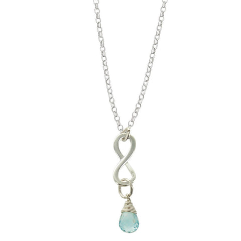 Blue Topaz December Birthstone Infinity Necklace