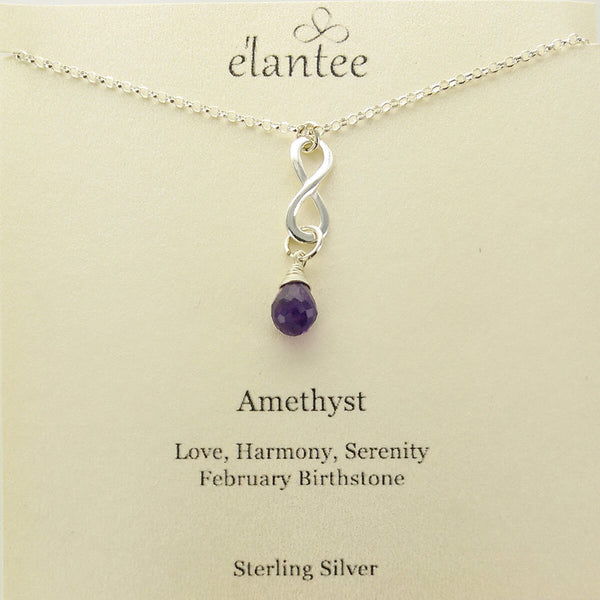 Amethyst February Birthstone Infinity Necklace On Quote Card