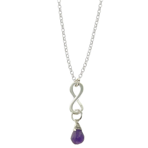 Amethyst February Birthstone Infinity Necklace