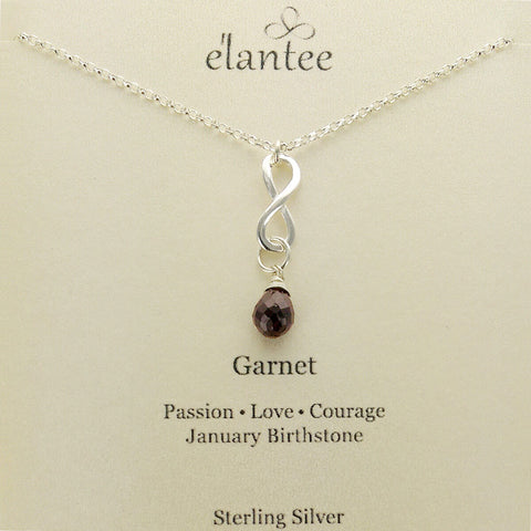 Garnet January Birthstone Infinity Necklace on Quote Card