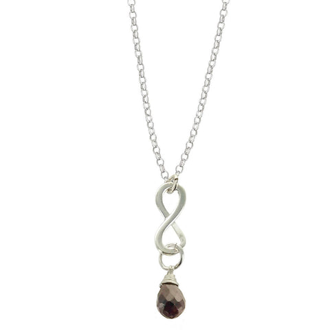 Garnet January Birthstone Infinity Necklace