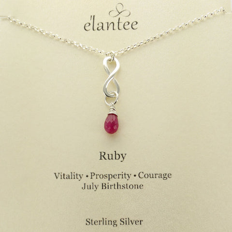 Ruby July Birthstone Infinity Necklace On Card