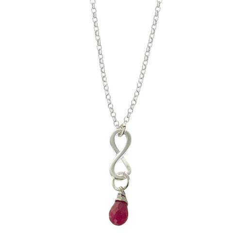 Ruby July Birthstone Infinity Necklace