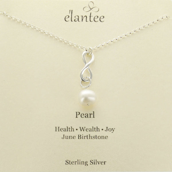 Pearl June Birthstone Infinity Necklace on Quote Card