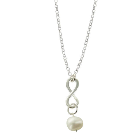 Pearl June Birthstone Infinity Necklace