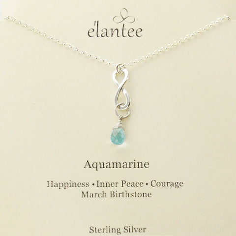 Aquamarine March Birthstone Infinity Necklace On Quote Card