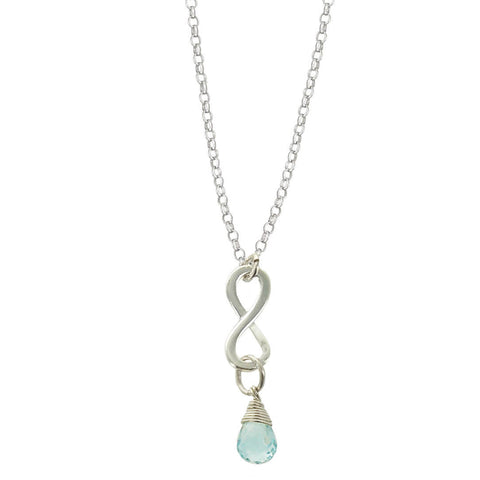 Aquamarine March Birthstone Infinity Necklace
