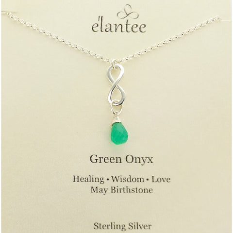 Green Onyx May Birthstone Infinity Necklace On Quote Card