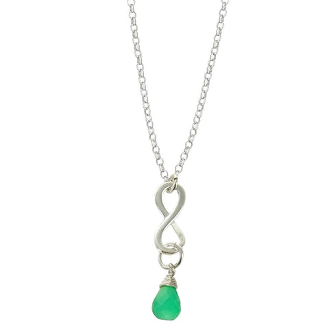 Green Onyx May Birthstone Infinity Necklace