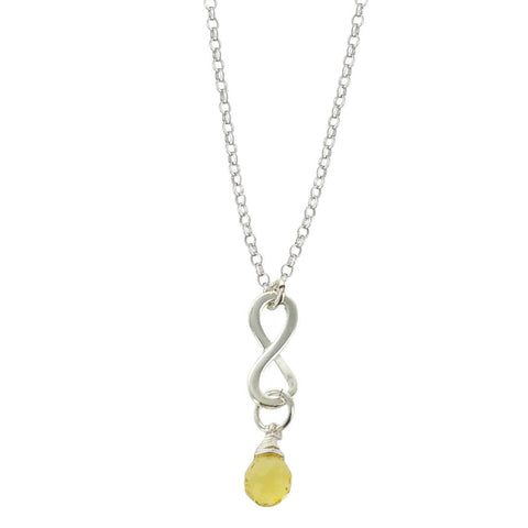 Citrine November Birthstone Infinity Necklace