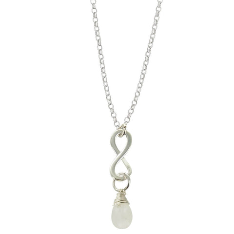 Moonstone October Birthstone Infinity Necklace