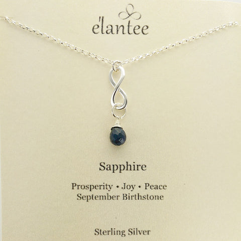 Sapphire September Birthstone Infinity Necklace On Card