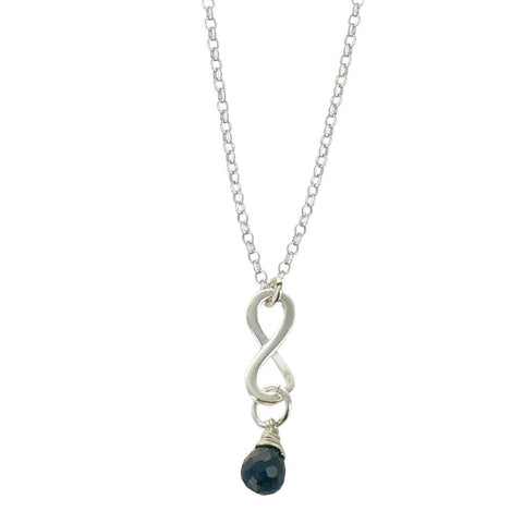 Sapphire September Birthstone Infinity Necklace