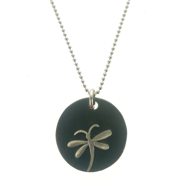 Black Patinaed Sterling Curved Tail Dragonfly Necklace