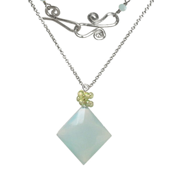 Sea Blue Chalcedony With Peridot Gemstone Necklace