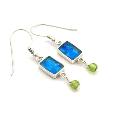 Blue Roman Rectangle Glass Earrings with Peridot Drop
