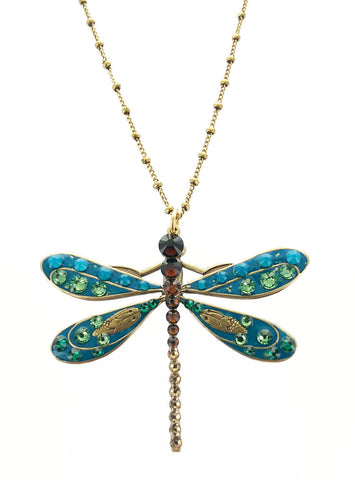 Blue Green Topaz Dragonfly Necklace