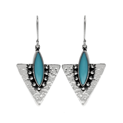 Blue Turquoise Marquise Arrowhead Earrings