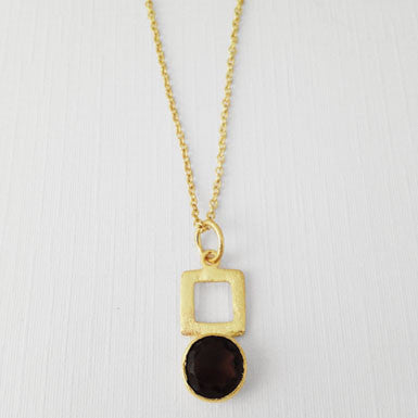 Betty Carre Brushed Gold Smokey Topaz Necklace