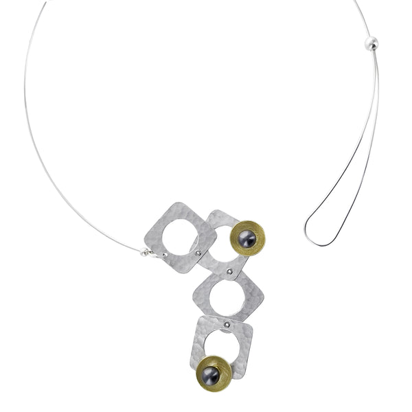 Chick Boss Tumbling Squares With Circles Necklace