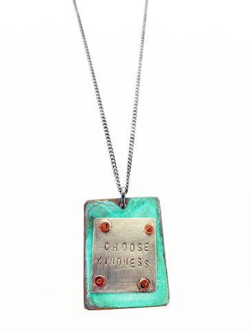 Inspirational Choose Kindness Verdigris Necklace