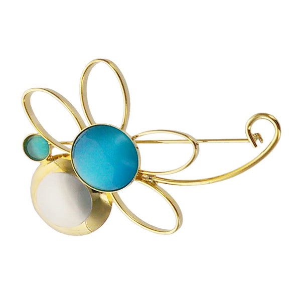 Christophe Poly Blue Flower Brooch